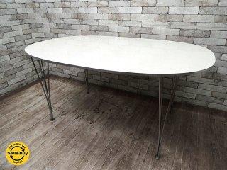 フリッツハンセン Fritz Hansen Bテーブル スーパー楕円 ホワイト W150cm ピートハイン ブルーノマットソン アルネヤコブセン ●