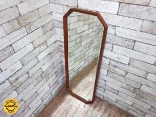 ビンテージ チーク材 ウォールミラー 姿見 鏡 壁掛け ●