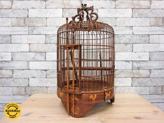 鳥籠 中国 アンティーク 木製 干支模様 ●