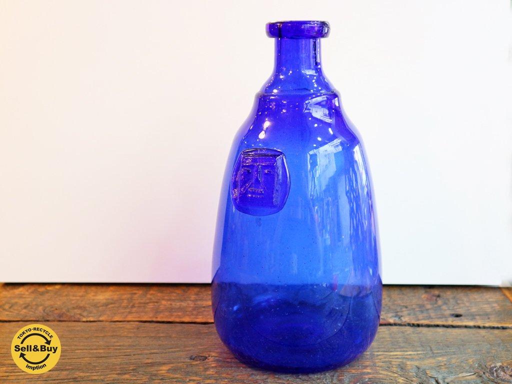 エリックホグラン Erik Hoglund フラワーベース 花瓶 希少 北欧 スウェーデン ヴィンテージ ブルー ◎