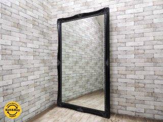クラシカルエレガントスタイル アンティーク調 特大 姿見 ウォールミラー ブラック W106xH176cm ●