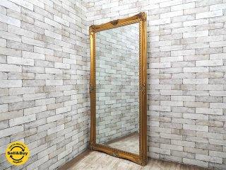 クラシカルエレガントスタイル アンティーク調 特大 姿見 ウォールミラー ゴールド W89xH177cm ●