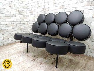 ジョージ・ネルソン マシュマロソファ ジェネリック品 ブラック イタリアンレザー ミッドセンチュリー スペースエイジ A ●