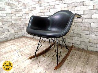 ハーマンミラー HermanMiller アームシェルチェア ロッカーベース C&R.イームズ 70's ビンテージ  :黒 = RAR ナウガレザー :黒 × シェル :白 ミッドセンチュリー ◇