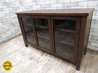 無印良品 MUJI バーチ材 キャビネット大 ガラス扉 食器棚 ブラウン シンプルデザイン ●