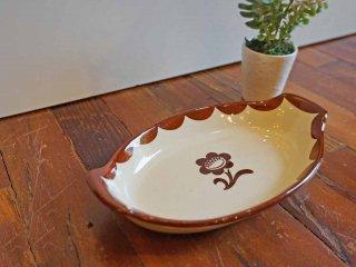 グスタフスベリ GUSTAVSBERG PYRO SWEDISH ブラウンフラワー グラタン皿 ビンテージ ●