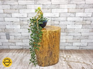 クラフト家具 丸太 無垢材 スツール 花台 A  ●