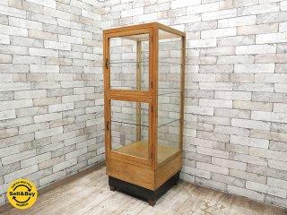 ビンテージ 古い木製 ショーケース ディスプレイケース パンケース 陳列棚 ゆらゆらガラス 店舗什器 ブロカント ●