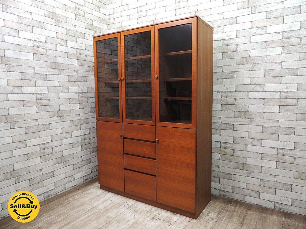 チーク材 キャビネット 食器棚 カップボード 飾り棚 書棚 ジャパンレトロ 北欧スタイル W120cm ●