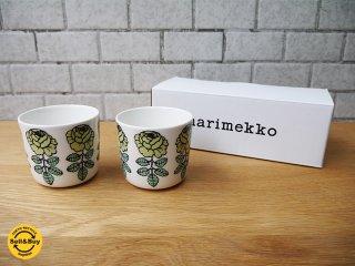 マリメッコ marimekko ヴィヒキルース VIHKIRUUSU ラテマグ ライトグリーン 2個セット マイヤ イソラ デザイン 箱付 未使用品 ■