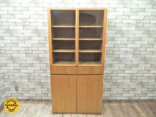 無印良品 MUJI 廃盤 木製 カップボード タモ材 ナチュラル 食器棚 キャビネット ( 参考価格:¥68,250- ) シンプルデザイン 本棚 ◇