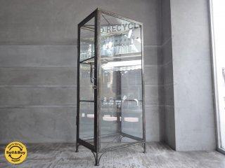 インダストリアルデザイン アイアン×ガラス コレクションケース ディスプレイ 店舗什器 ♪