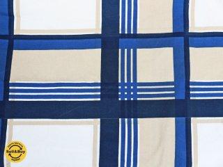 マリメッコ marimeko リーヒ RIIHI ビンテージ ファブリック 生地 ブルー 格子 チェック 脇坂克二 131×130cm 希少 ◎