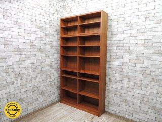 ビンテージ チーク材 ブックケース 本棚 書棚 飾り棚 上置き付 ジャパンレトロ 北欧スタイル W120xH225cm ◎