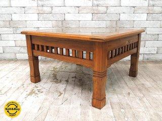 チーク 無垢材 × バンブー ローテーブル センターテーブル バリ家具 ガラストップ アジアン ●