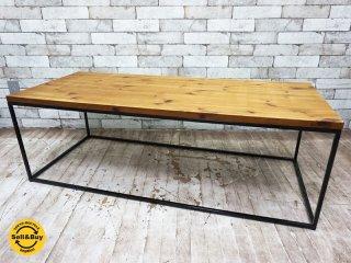リメイクファニチャー 古材 無垢天板 コーヒーテーブル センターテーブル インダストリアルスタイル ●