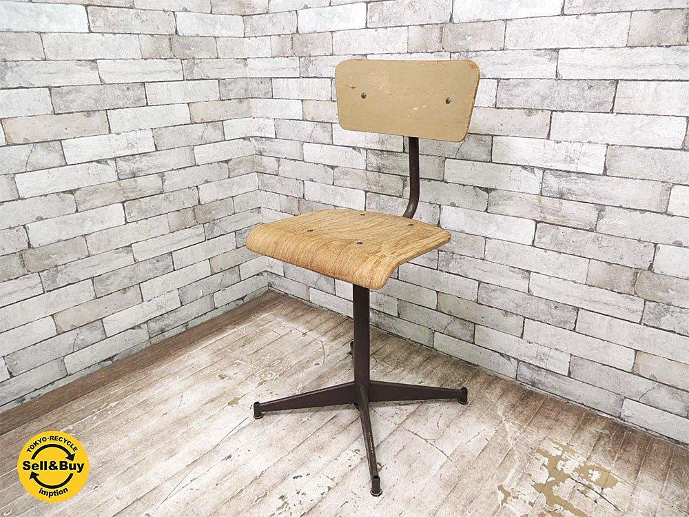 ビンテージ プライウッド x スチール ドラフティングチェア 製図椅子 インダストリアル ●