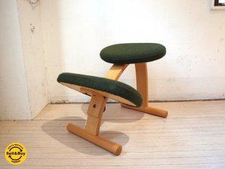 ノルウェー Rybo リボ バランスイージー チェア 学習椅子 グリーン×ブラウン ミックスファブリック ★