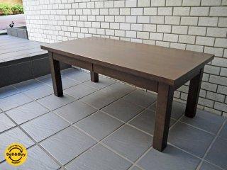 無印良品 MUJI タモ材 木製 ローテーブル 引き出し w90cm ブラウン ■