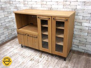 ロウヤ LOWYA クレモキッチンキャビネット タモ材 キッチンカウンター キッチンボード 食器棚 W119 ●
