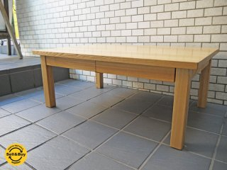 無印良品 MUJI タモ材 木製 ローテーブル 引き出し w90cm ナチュラル ■