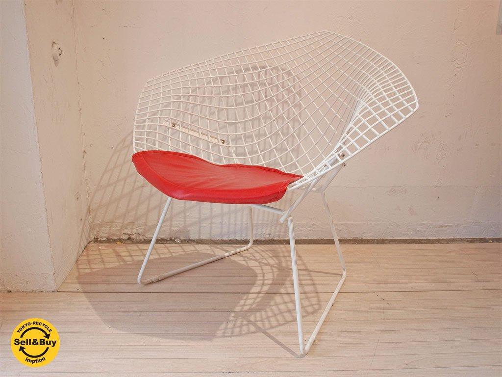 ノール Knoll ダイアモンド チェア Diamond Chair レッドクッション付き ハリーベルトイヤ デザイン ★