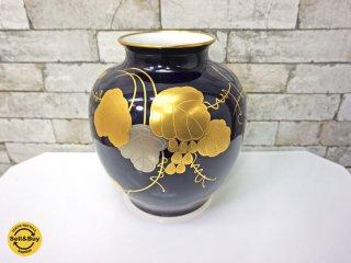 大倉陶園 OKURA 花器 花瓶 葡萄柄 フラワーベース 元箱付き ●