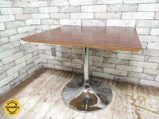 D&DEPARTMENT オリジナル カフェテーブル ローズウッド調天板×ラッパ脚 廃番アイテム D&D カフェインテリア ●