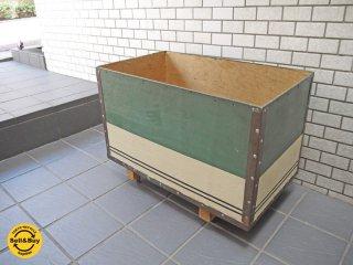 ビンテージ 木製 トイボックス TOYBOX プランター キャスター付 グリーン ■