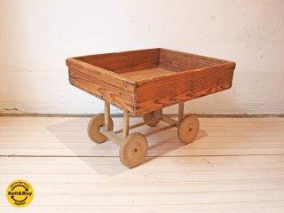 ビンテージ vintage 木製 車輪 荷車 台車 トローリー 店舗什器 ディスプレイ ★