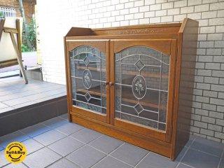 三越家具 ブルージュ Brugge サイドボード 飾り棚 キャビネット 英国カントリー ステンドグラス ■