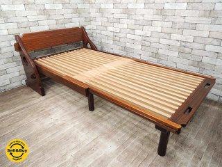 オーダーメイド 天然木無垢材 フォールディングベッド 折畳ベッド 民芸家具 和家具 クラフト ●