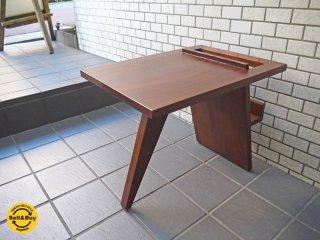 クラフト家具 マホガニー 無垢材 マガジンラック サイドテーブル レトロデザイン ■