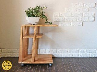 木製 キャスター付き ワゴンシェルフ 収納ラック サイドテーブル ◎