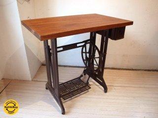 リメイク シンガーミシン脚×無垢材天板 デスク カフェテーブル SINGER sewing machine 工業系 作業台 ★
