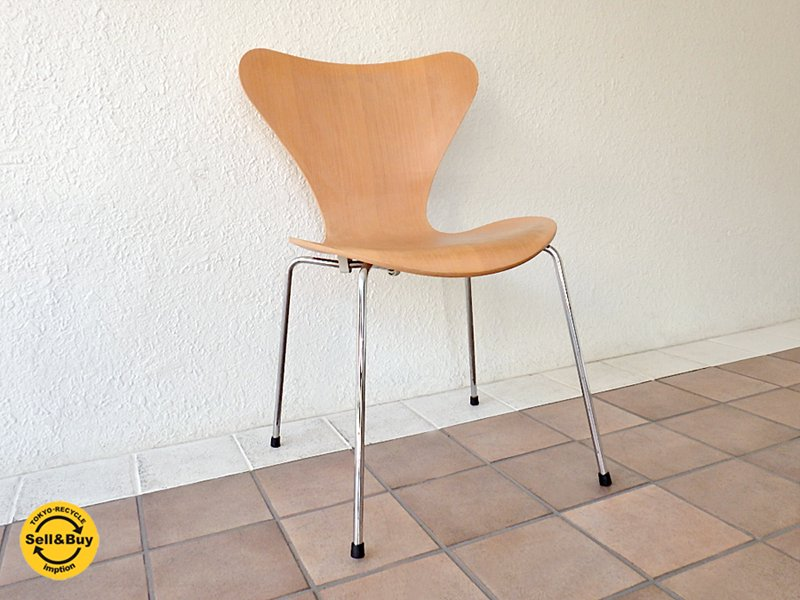 フリッツハンセン Fritz Hansen セブンチェア Seven Chair アルネヤコブセン Arne Jacobsen ナチュラルビーチ (定価:¥73,440-/'07.ver)  ◇