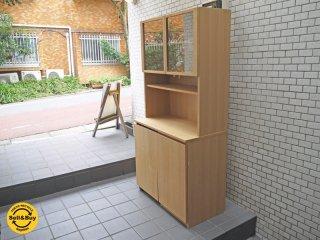 無印良品 MUJI タモ材 ナチュラル 木製 カップボード ワゴン付き キッチンボード 食器棚 廃番 ■