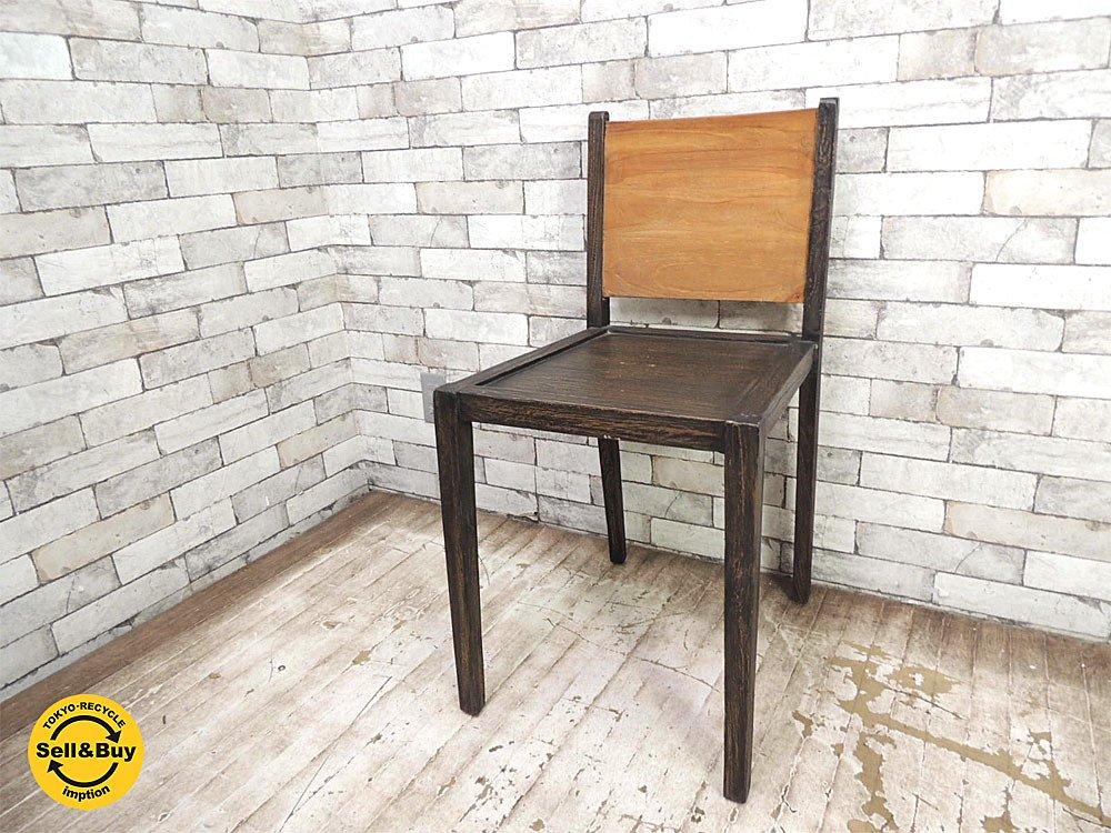 マーブルデュモンド 木製 ダイニングチェア 展示美品 アジア家具 ●