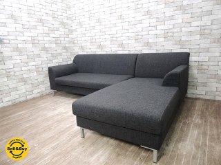 モダンデザイン カウチソファ L字ソファ 3pソファ ファブリック張り 美品 W233cm ●