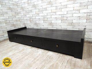 マーブルデュモンド アジアン 無垢材xバンブー センターテーブル ベンチ 未使用品 W176.5cm 引き出し3杯 アジア家具 ●