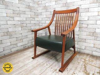 BC工房 チーク無垢材 だんらん工芸椅子 たたみ脚 ラウンジチェア レザー張り クラフトチェア 和椅子 ●