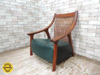 BC工房 チーク無垢材 だんらん工芸椅子 ワイドサイズ ラウンジチェア レザー張り クラフトチェア 和椅子 ●