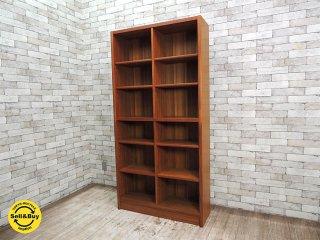 ビンテージ チーク材 ブックケース 本棚 書棚 飾り棚 ジャパンレトロ 北欧スタイル W90xH180cm ●