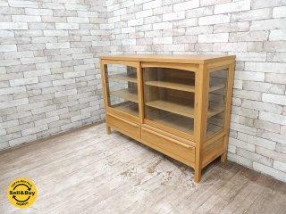ウニコ unico クラルス CLARUS コレクションキャビネット W1200 飾り棚 食器棚 サイドボード アッシュ材 廃番アイテム ●