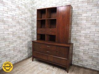USビンテージ Dixie Furniture カップボード 食器棚 飾り棚 収納棚 ミッドセンチュリー レトロ家具 ●