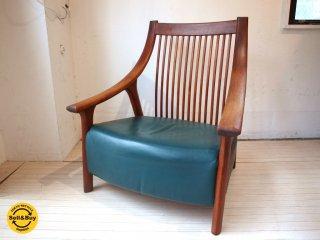 BC工房 チーク無垢材 だんらん工芸椅子 ワイドサイズ ラウンジチェア レザー張り 和椅子 オーダー家具メーカー � ★