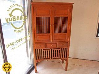 アジアン家具 Asian furniture チーク無垢材 キャビネット 立ち脚  飾り棚 食器棚  ★