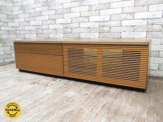 タモ材 スリット扉 AVボード テレビ台 W150cm ナチュラルカラー シンプルデザイン ●