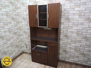 ビーカンパニー B-COMPANY モザイクガラス カップボード 食器棚 ●