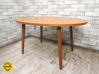 ウニコ unico アルベロ ALBERO オーバル カフェテーブル チーク材 W110cm レトロデザイン カフェスタイル ●